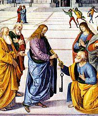 Jesus handing Peter the keys Perugino