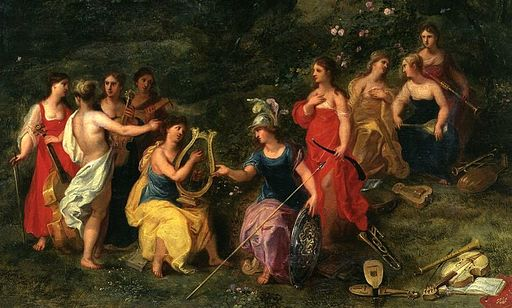 Athena and the nine Muses