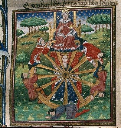 Goddess Fortuna Wheel of Fortune Troy Book (1455-1462)