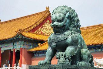 Bronze Guardian Lion Statue in Forbidden City in Beijing, China