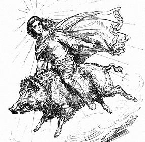 Freyr riding pig Gullinbursti