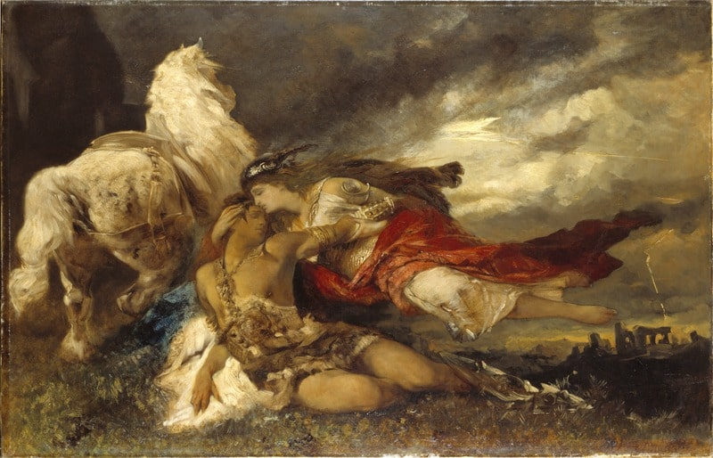 Valkyrie and a Dying Hero - Hans Makart